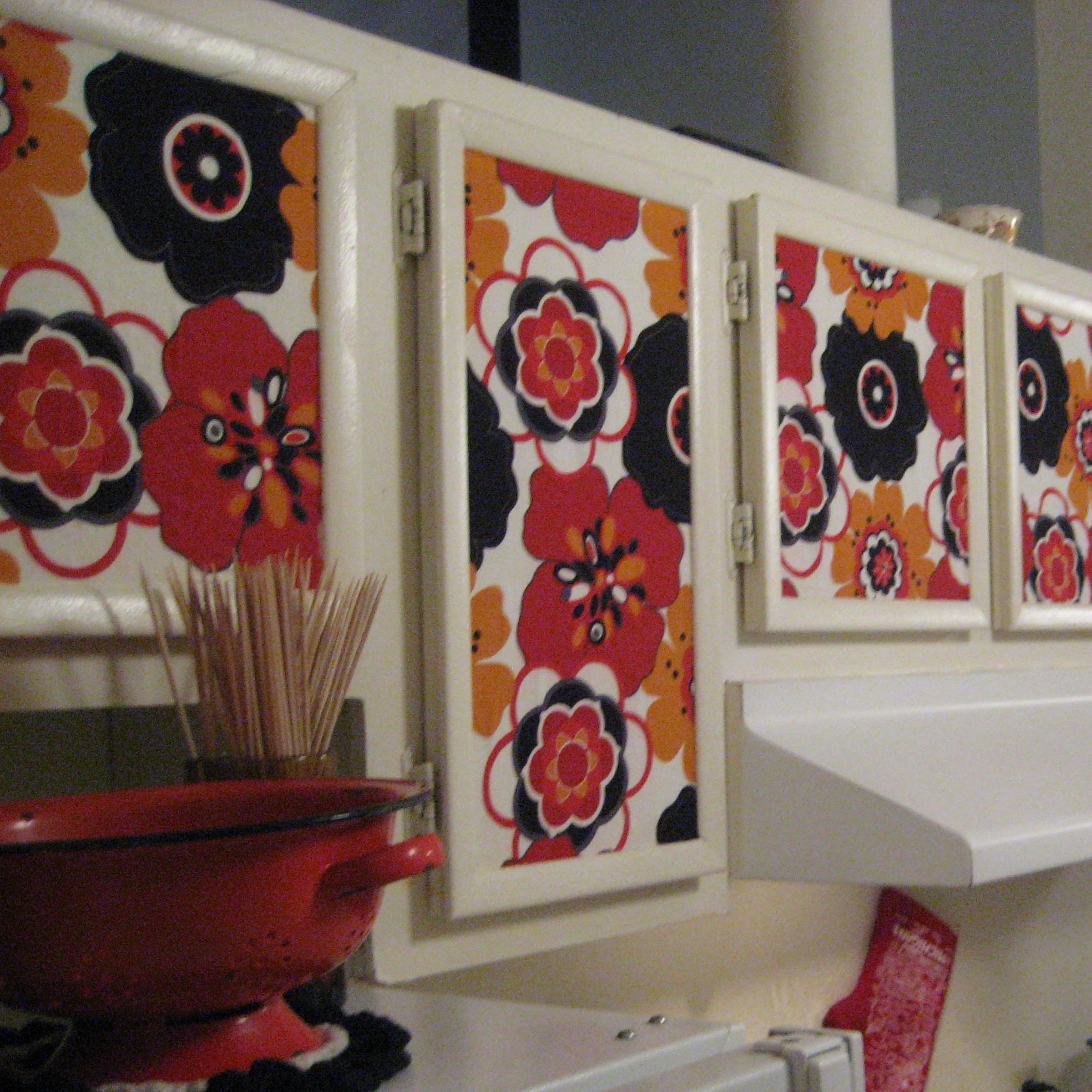 Starch fabric kitchen cabinets tutorial sew becky jo - Wallpaper on kitchen cabinet doors ...