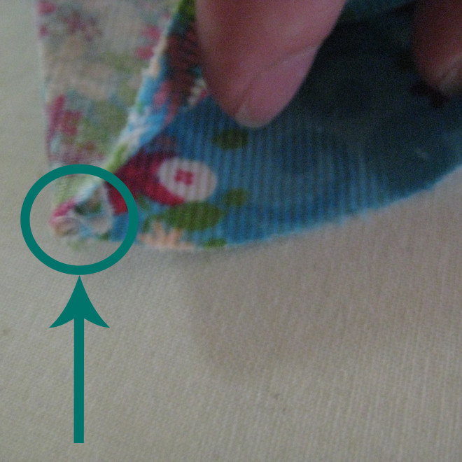 sewing in the first seam