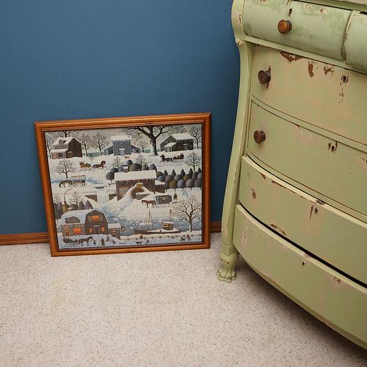 framed puzzle & refinished dresser