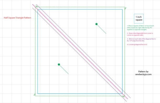 half square triangle / Chevron pattern instructions